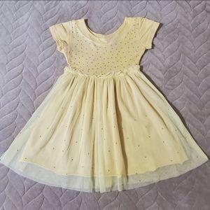 Beautiful Yellow Tulle Dress w/ Rhinestones